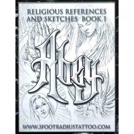 libro tatuaggio religious reference skteches abey tattoo book