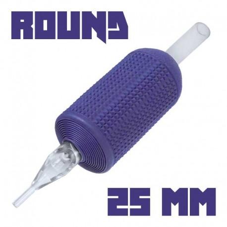 "tattoo grip tatuaggio nova 09 round liner 25 mm (1"") monouso tip trasparente"
