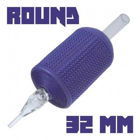 "tattoo grip tatuaggio nova 09 round liner 32 mm (1,25"") monouso tip trasparente"